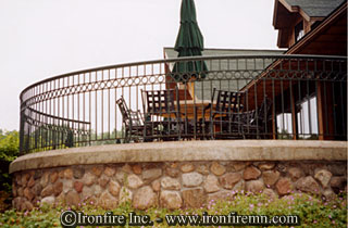Wrought iron gates railing fence brainerd mn minnesota custom railings ironwork for Curved metal railings exterior